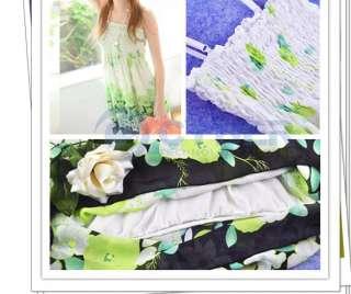 Elastic Tunic Blouse Floral Spaghetti Strap Sun Dress Beach Party