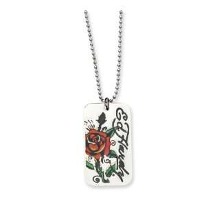Ed Hardy Rose 2 piece Painted Dog Tag 24 Necklace