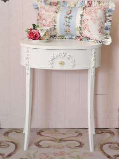 Shabby Cottage Chic Oval Side Table 1 Drawer Rose Appliques French