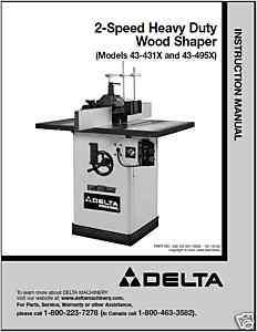 Delta 2 Speed Heavy Duty Wood Shaper Instruction Manual