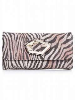 GUESS WALLET Bob Cat Double ID BROWN BOBCAT TAGS WOMENS