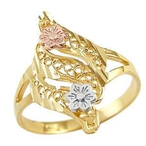 10.5   14k Yellow White n Rose Gold Ladies Flower Desing Ring Jewelry