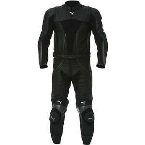 Puma Sport 2 Piece Leather Mens On Road Motorcycle Race Suit   Black