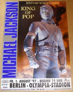Michael Jackson original rare tour concert poster, Berlin 1997, Mint