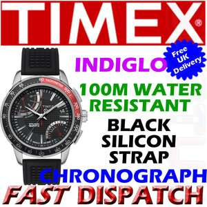 Timex Mens IQ Silicon Strap Black Dial T2N705 Watch New
