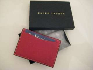 POLO RALPH LAUREN NWT $60 LEATHER CARD CASE WALLET Red