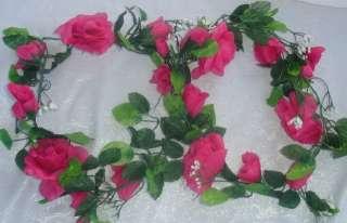 HOT PINK FUCHSIA Silk ROSE GARLAND Wedding FLOWERS Rose