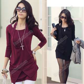 Women Lady Long Sleeve Crew Neck Cotton Casual Short Mini Dress Long