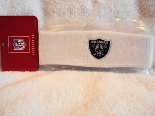 OAKLAND RAIDERS Logo NFL Reebok White Sweatband Headband NEW
