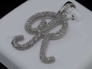 LADIES WHITE GOLD DIAMOND INITIAL LETTER R SCRIPT