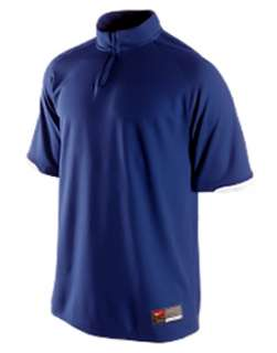 Nike Mens Fit Dry Navy Blue Collarless Zip Polo Golf Shirt