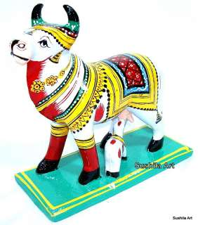Handmade Indian Wooden Cow Decorative Wood Carving