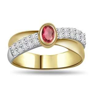 0.35 TCW Real Diamond, Oval Red Ruby and 18k Gold Two tone