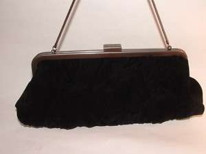 MARY KAY RETRO BLACK RUCHED VELVET FABRIC CLUTCH PURSE