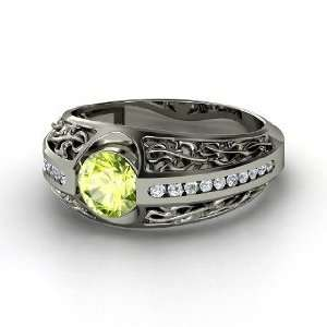 Vintage Romance Ring, Round Peridot Sterling Silver Ring