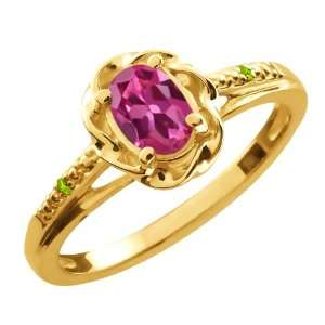 51 Ct Oval Pink Tourmaline Green Peridot 18K Yellow Gold Ring Jewelry