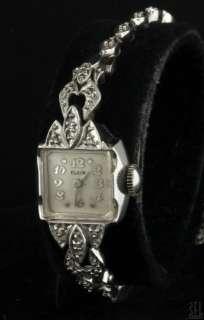 ELGIN ANTIQUE 14K WHITE GOLD ELEGANT .25CT DIAMOND LADIES WATCH