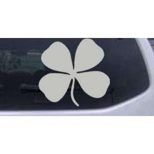 Four Leaf Clover Car Window Wall Laptop Decal Sticker    Silver 12in X