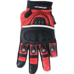 Sport Stiletto Mens Short Road Race Motorcycle Gloves   Red / Small