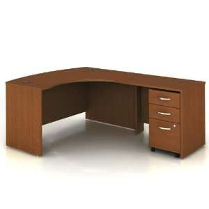 Warm Oak Bow Front LDesk with Right Return Warm Oak