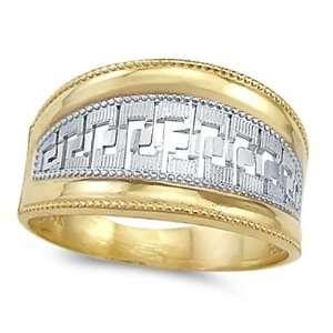 Greek Design Fashion Ring 14k White Yellow Gold Band, Size 7.5 Jewel