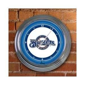 MILWAUKEE BREWERS Team Logo 15 NEON WALL CLOCK:  Sports