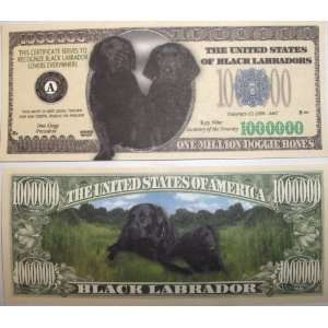 Set of 10 Bills Black Labrador Million Dollar Bill Toys & Games