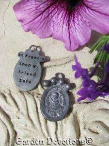 sided ST. FRANCIS Paw Print Pet Medal Tag Charm ~ NEW