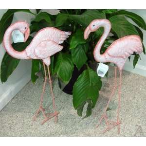Pink Flamingo Yard Garden Art Staute Set of 2 Patio, Lawn & Garden