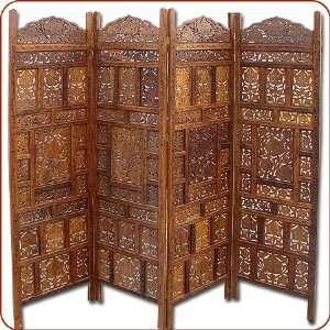 Room Divider  Four Panel Jali Wood