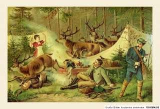 Hirsche Jagd Jagdbild Jäger Wild 1890 Servo Deer Bütten