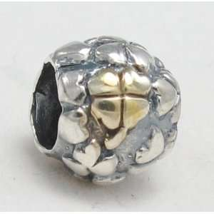 Gold Four leaf Clover Jewelry .925 Sterling Silver Bead Charm Pandora