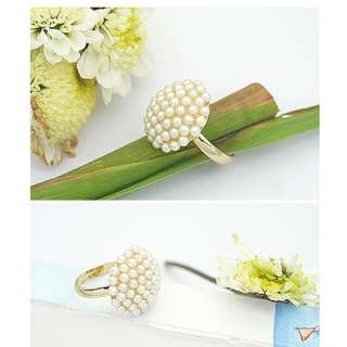 Fashion Cute Adjustable Pearl Mushroom Flower Ring
