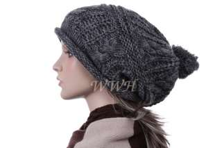 Charm Crochet Knit Beanie Hat Knit Winter Cap be427g