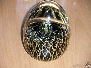 Murano Italy crystal egg paperweight black & gold