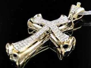 14K MENS YELLOW GOLD CURVED DIAMOND CROSS PENDANT 1 CT