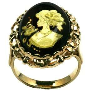 Baltic Amber 14k Gold Large Cameo Ring Size 7, 8, 9 Ian