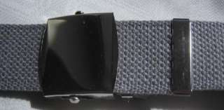 Mens Gray Military Canvas Web Belt Silver Buckle New