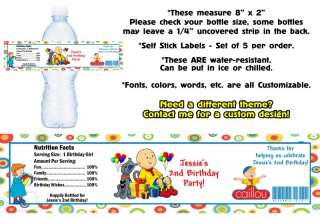 Caillou ~ Printed Water Bottle Labels ~ Birthday Party Favors Supplies