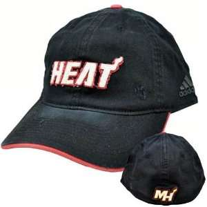 NBA Adidas Miami Heat Black White Red Flex Fit Relaxed Fit