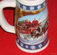 Collectible 1995 Budweiser Beer Holiday Stein / Mug