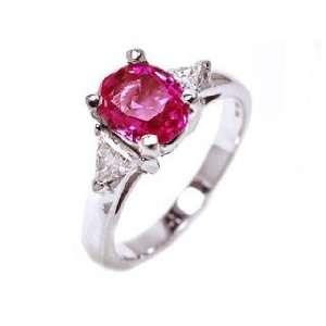18k White Gold Pink Sapphire & Diamond 3 Stone Ring Size 5