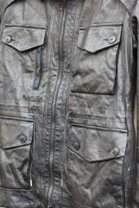 NWT~DIESEL BLACK GOLD~Lecapo Cargo Black Leather Jacket~S~$1,300