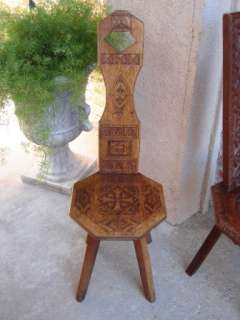 Antique English Hand Carved Wood Spinning Wheel Chair Stool Hearth