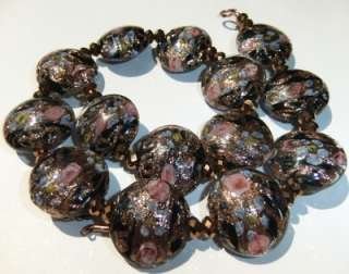 VENETIAN MURANO BLACK AVENTURINE PINK BLUE ART GLASS BEAD NECKLACE