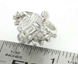 VINTAGE 18K WHITE GOLD RETRO 1.18CT DIAMOND CLUSTER COCKTAIL RING SIZE