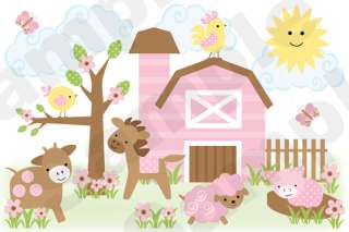 BROWN PINK BARNYARD FARM ANIMALS GIRL NURSERY BABY WALL MURAL STICKERS