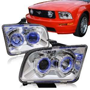 2005   2009 Ford Mustang Chrome Housing Dual Halo Projector Headlights