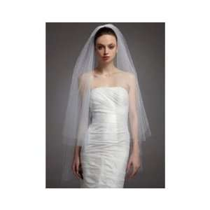 2T Fingertip Waltz Wedding Bridal Veil Cut Edge