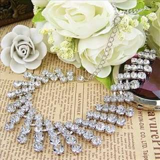 vintage antique style jewellery silver tone backing rhinestone choker